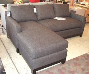 """Soho Flex sofa/sectional.  82"""" x 35""""D x 36""""H. Chaise can work on either side is 64""""D.   Shown in Dumdum charcoal $2720. Floor model $2399."""