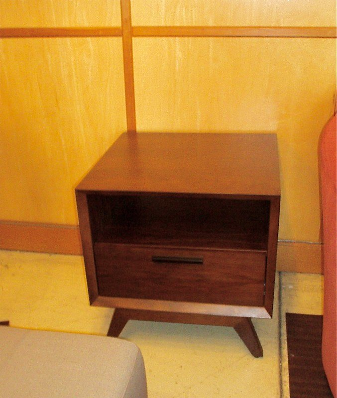 Mid Century Modern Side Table In Walnut With Chocolate Stain $549