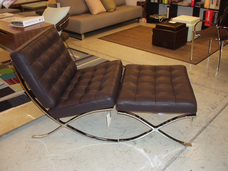 Madrid Armless Dark Brown Leather Chair And Ottoman Chair