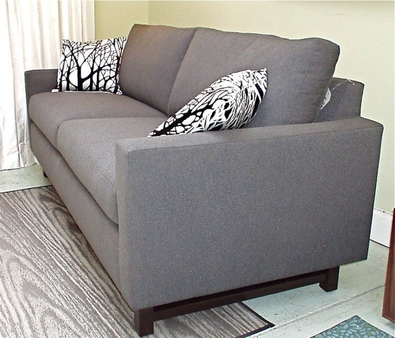 Soho 2 84u201d Sofa In Fanfare Grey With Custom Leg And Extended Arm $1995