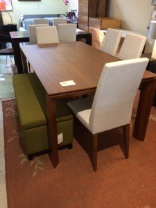 """Omnia walnut dining table  70-94.5""""W x 39.5""""D x 30""""H Extension table seats up to 12.   Floor Model $1799"""