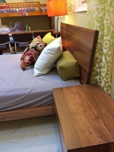 Silverton queen headboard solid walnut custom in all sizes and woods.